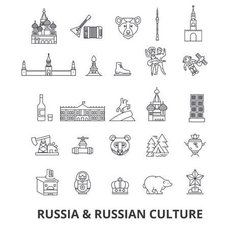 ロシア、モスクワ、地図、ロシア国旗、マトリョーシカ、クレムリン、ソ連、サンクトペテルブルク、観光スポットラインのアイコン。編集可能な  イラスト・ベクター素材
