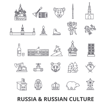 Russland, Moskau, Karte, russische Flagge, Matroschka, Kreml, UdSSR, St. Petersburg, Sehenswürdigkeiten Linie Symbole. Bearbeitbare Striche Flaches Designillustrations-Symbolkonzept. Standard-Bild - 85723510