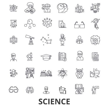 科学、技術、科学者、ab テスト、分子、dna、数学、顕微鏡ラインのアイコン。編集可能なストローク。