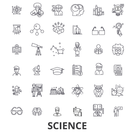 Science, technology, scientist, ab test, molecule, dna, math, microscope line icons. Editable strokes.