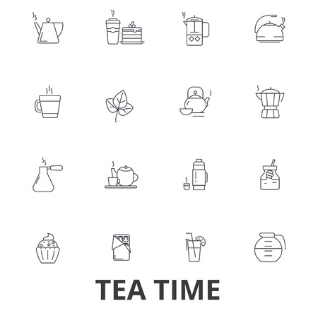 Teatime, tea, teacup, cafe, tea party, afternoon drinks, cupcake, pot line icons. Editable strokes. Flat design vector illustration symbol concept. Linear signs isolated on white background.