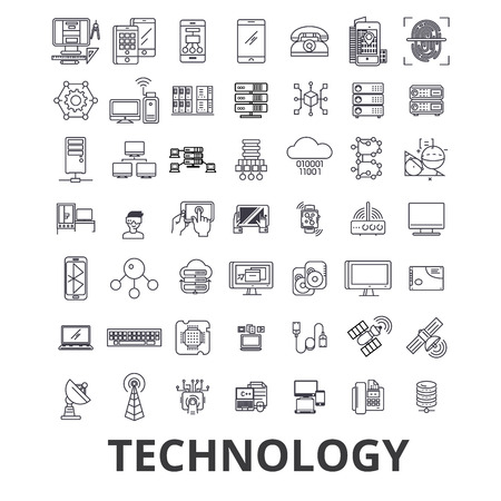 Technology, computer, it, innovation, science, information, cloud network line icons. Editable strokes. Flat design vector illustration symbol concept. Linear signs isolated on white background.