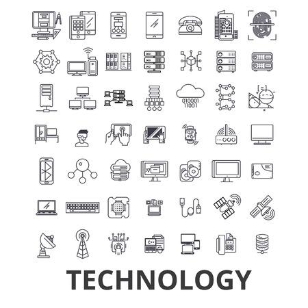Technologie, ordinateur, informatique, innovation, science, information, icônes de ligne de réseau en nuage. Coups modifiables. Design plat vector illustration symbole concept. Signes linéaires isolés sur fond blanc. Vecteurs