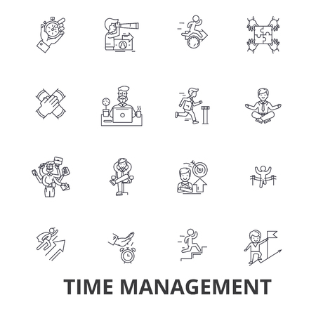 gears: Time management, clock, timeline, planning, project, calendar, leadership line icons. Editable strokes. Flat design illustration symbol concept.