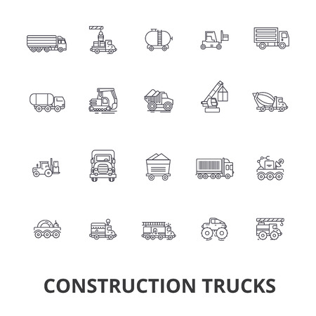 트럭 건설, 장비, 크레인, 시멘트, 차량, 배달, 밴, 트럭 줄 아이콘. 편집 가능한 스트로크. 평면 디자인 벡터 그림은 기호 개념. 흰색 배경에 고립 된 선