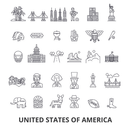 Usa, america, new york, statue of liberty, united states, famous landmarks, sights line icons. Editable strokes. Flat design illustration symbol concept.