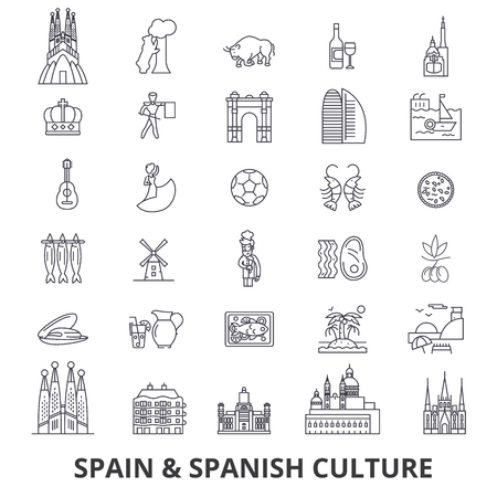 Spain, barcelona, madrid, spanish, flamenco, mediterrian line icons. Editable strokes. Flat design illustration symbol concept.