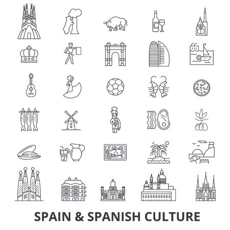 Spain, barcelona, madrid, spanish, flamenco, mediterrian line icons. Editable strokes. Flat design illustration symbol concept.