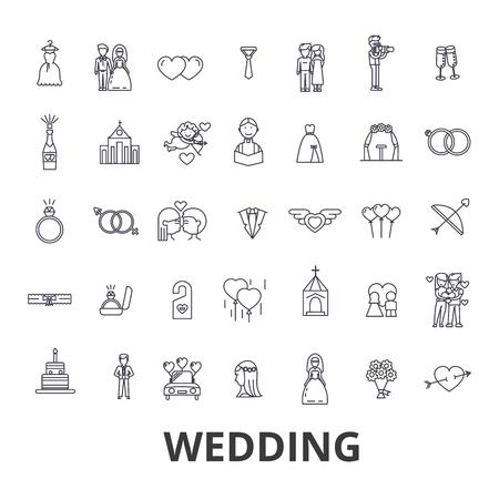 Wedding, invitation, bride, couple, rings, cake, groom, love, flowers, relations line icons. Illustration
