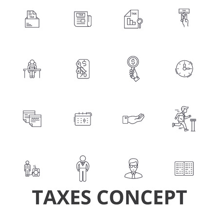 Taxes, accounting, money, forms, taxation, accountant, calculator, finance line icons. Editable strokes. Flat design illustration symbol concept.