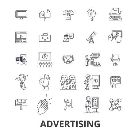 Reclame, marketing, media, sociale, billboard, nieuws branding lijn pictogrammen.