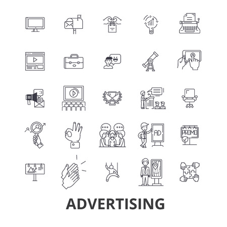 Advertising, marketing, media, social, billboard, news branding line icons.
