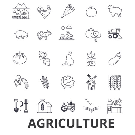 Agriculture line icons.