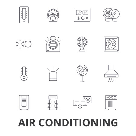 Air conditioning thermometer line icons. Stock Vector - 85723979