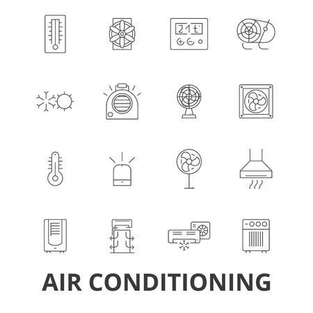 Iconos de línea de termómetro de aire acondicionado. Foto de archivo - 85723979