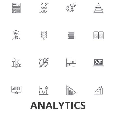 Analytics,  data, statistics, analyze,  graph,  report, concept,  chart, plan line icons. Editable strokes. Flat design vector illustration symbol concept. Linear signs isolated on white background.