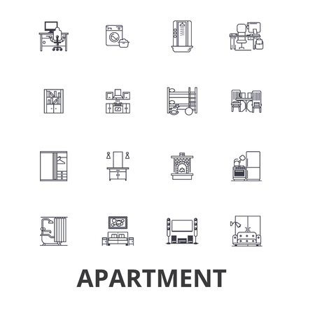 house logo: Apartment, building, house, interior, flat, complex, architecture, living room line icons. Editable strokes. Flat design vector illustration symbol concept. Linear signs isolated on white background.