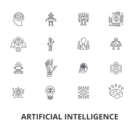 Artificial intelligence, robot, computer brain, technic, cyborg, brain, android line icons. Editable strokes. Flat design vector illustration symbol concept. Linear signs isolated on white background.
