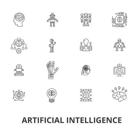 Kunstmatige intelligentie, robot, computerbrein, techniek, cyborg, hersenen, android lijn iconen. Bewerkbare strepen. Vlak ontwerp vector illustratie symbool concept. Lineaire tekens geïsoleerd op een witte achtergrond. Stock Illustratie