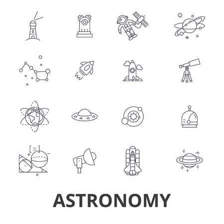 Astronomy, astrology, space, star, telescope, galaxy, planet, moon, science line icons. Design vector illustration symbol concept. Linear signs isolated on white background.