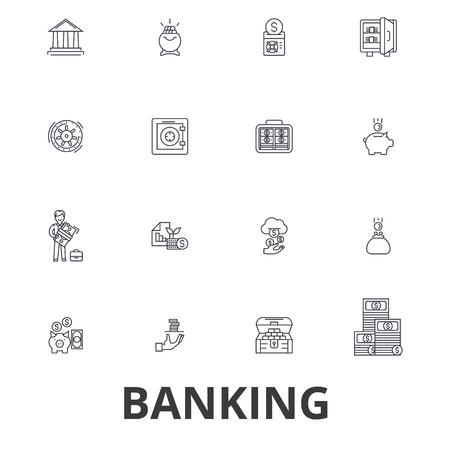 Bankieren, ank gebouw, financiën, geld, bankier, spaarvarken, het bedrijfsleven, creditcard lijn pictogrammen. Platte ontwerp vector illustratie symbool concept. Lineaire tekens die op witte achtergrond worden geïsoleerd.