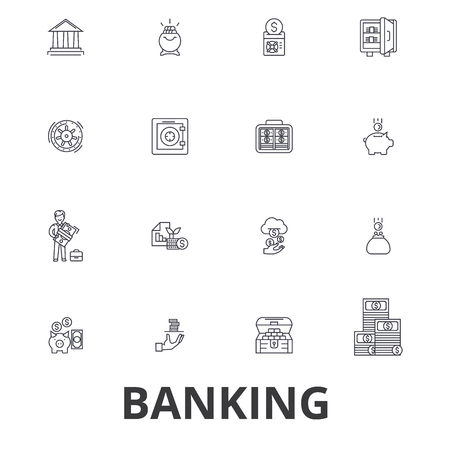 Banking, ank building, finance, money, banker, piggy bank, business, credit card line icons. Flat design vector illustration symbol concept. Linear signs isolated on white background. Ilustração
