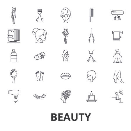 Beauty, spa, wellness, hair salon, cosmetics,  hygiene, relaxation, skin care line icons.  Flat design vector illustration symbol concept. Linear signs isolated on white background.