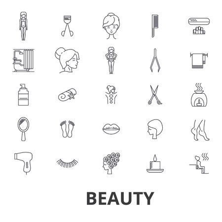 Schoonheid, spa, wellness, kapsalon, cosmetica, hygiëne, ontspanning, huidverzorging lijn iconen. Platte ontwerp vector illustratie symbool concept. Lineaire tekens die op witte achtergrond worden geïsoleerd.