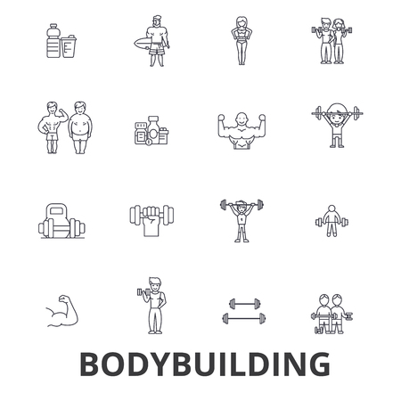 Bodybuilding, body, muscle, gym, muscleman, bodybuilder, weightlifting, muscular line icons. Flat design vector illustration symbol concept. Linear signs isolated on white background.