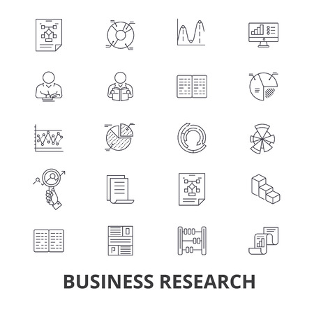 Business research, strategy, marketing, analytics, data, monitoring, studying line icons. Flat design vector illustration symbol concept. Linear signs isolated on white background.