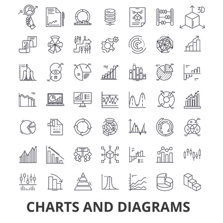 Charts and diagrams, diagram element, flow chart, circle diagram, graphic, arrow line icons. Editable strokes. Flat design vector illustration symbol concept. Linear signs isolated on white background Illustration