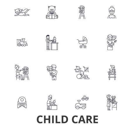 Child care, babysitter, preschool, nanny, nursery, kids playing, daycare center line icons. Editable strokes. Flat design vector illustration symbol concept. Linear signs isolated on white background