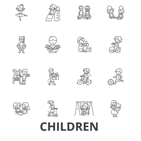 Children, kids, playing, baby, family, happy, girl, boy, teenager, playground line icons. Editable strokes. Flat design vector illustration symbol concept. Linear signs isolated on white background
