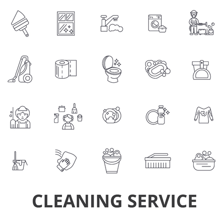 Cleaning service, house cleaning, office cleaning, cleaning supplies, cleaner line icons. Editable strokes. Flat design vector illustration symbol concept. Linear signs isolated on white background Illustration