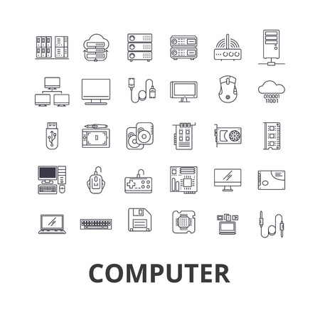 コンピュータ、ラップトップ、コンピュータ画面、技術、インターネット、マウス、モニタ、ネットワーク回線のアイコン。フラットデザインベク