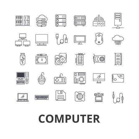 컴퓨터, 노트북, 컴퓨터 화면, 기술, 인터넷, 마우스, 모니터, 네트워크 라인 아이콘. 평면 디자인 벡터 그림은 기호 개념. 흰색 배경에 고립 된 선형 표 일러스트