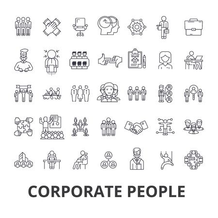 Corporate people, corporate identity, business, train, corporate event, office line icons. Flat design vector illustration symbol concept. Linear signs isolated on white background.