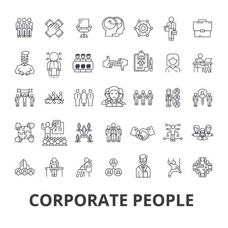 Unternehmensleute, Unternehmensidentität, Geschäft, Zug, Firmenereignis, Bürozeile Symbole. Flaches Designvektorillustrations-Symbolkonzept. Lineare Zeichen getrennt auf weißem Hintergrund.