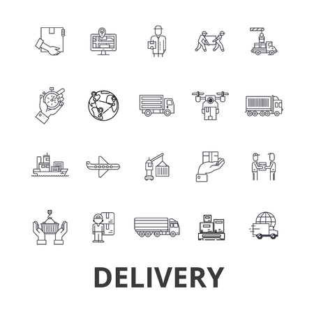 delivery service: Delivery, food, free delivery, courier, truck, pizza delivery, transportation line icons. Flat design vector illustration symbol concept. Linear signs isolated on white background. Illustration