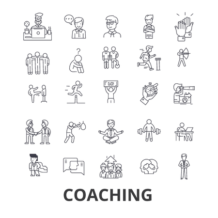 コーチング、スポーツコーチ、メンター、コーチバス、ライフコーチ、トレーニング、トレーナー、ホイッスルラインのアイコン。フラットデザイ