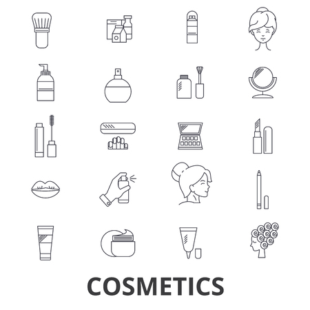 Cosmetics, beauty, makeup, lipstick, perfume, cosmetic bottle, cream, product line icons. Flat design vector illustration symbol concept. Linear signs isolated on white background.
