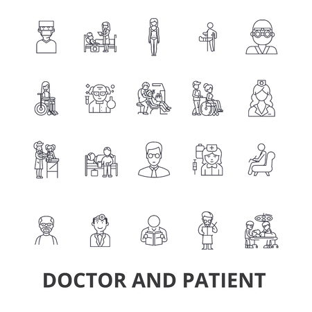 Doctor and patient, cabinet, medical, hospital, consultation, nurse, healthcare line icons.
