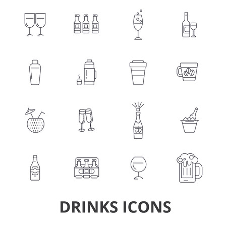 Drinks, beer, alcoholic drinks, water, wine, alcohol, bar, coffee line icons.