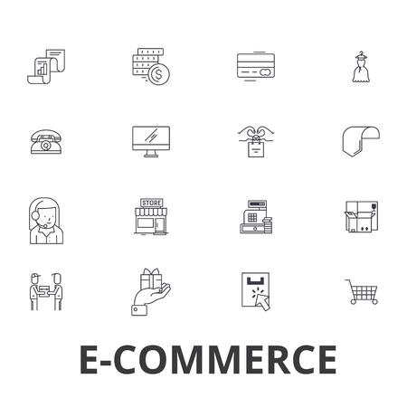 E-commerce, online shopping, website, internet, cart, e-business, e-learning line icons.