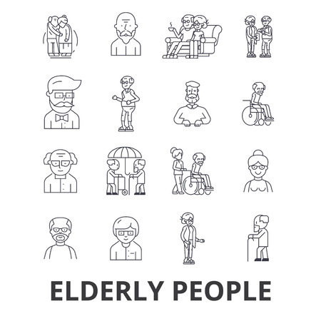 Elderly people, care, elderly couple, old people, elderly patient, support line icons. Ilustrace