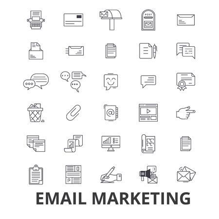 Email marketing, posting, social media, newsletter, internet, online, blog line icons.