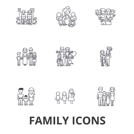 Family, happieness, home, fun, couple, family tree, family portrait, vacation line icons. Ilustracja