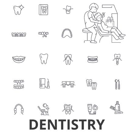 Dentisterie, dentiste, soins dentaires, soins dentaires, bureau de dentiste, dents, sourire, icônes de ligne d'implant.