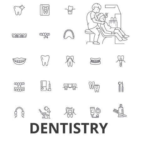 Tandheelkunde, tandarts, tandheelkundige, tandheelkundige zorg, tandarts kantoor, tanden, glimlach, implantaat lijn pictogrammen.