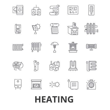 난방, 뜨거운, 심장, 라디에이터, 히터, 난방 시스템, 화재, 파도, 따뜻한, 태양 라인 아이콘. 일러스트